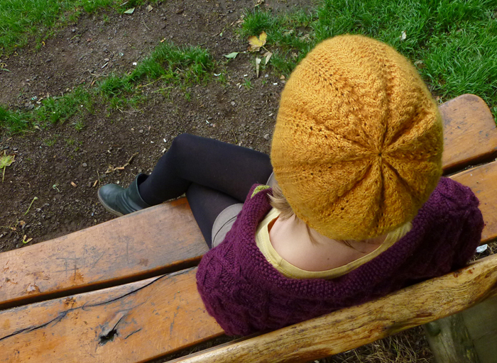 Autumn Gold Lace Beanie Hat Knitting Pattern