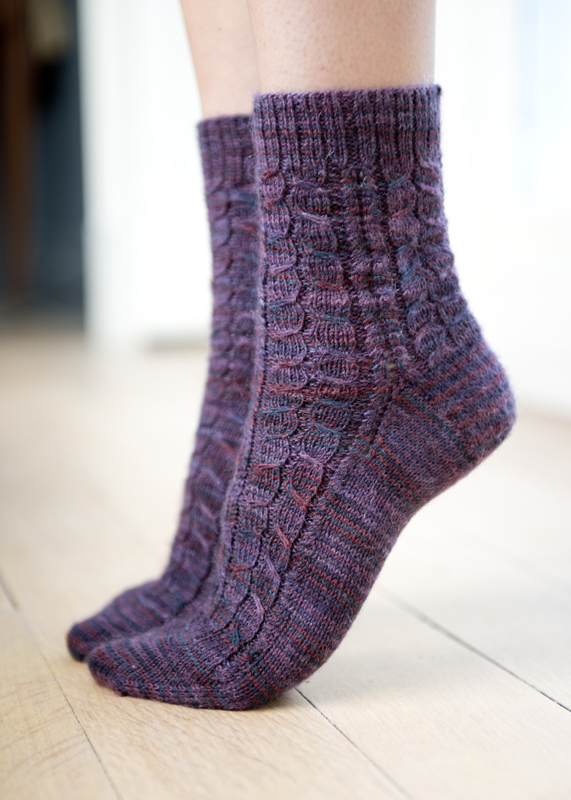 Cable Knit Sock Pattern : Slip-Stitch Cabled Socks Pattern in Simply Knitting 115